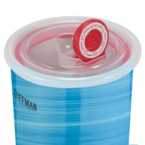 Керамическая банка 0,7 л с крышкой, голубого цвета