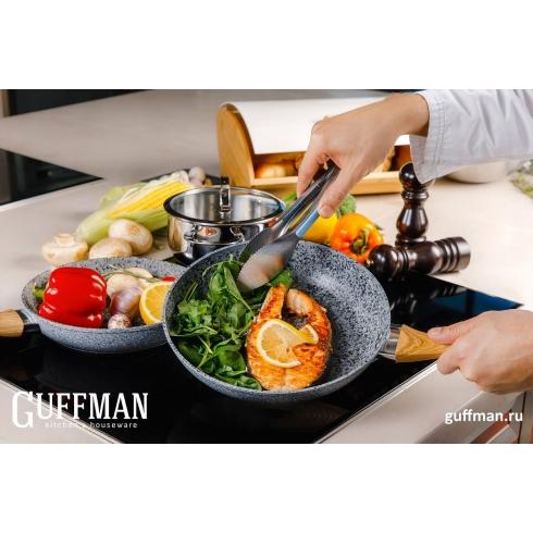 Сковорода 26 см Grey Marble с мраморным покрытием и деревянной ручкой, индукция