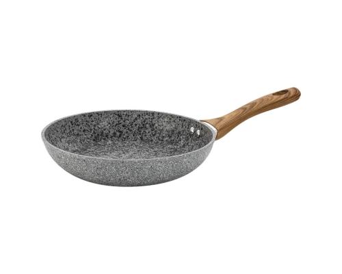 Сковорода 24 см Grey Marble с мраморным покрытием и деревянной ручкой, индукция