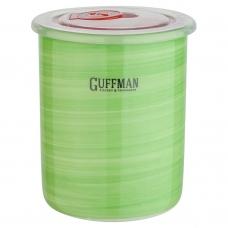 Керамическая банка 0,7 л с крышкой, зеленого цвета