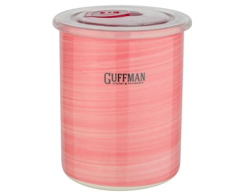 Керамическая банка 0,7 л с крышкой, розового цвета