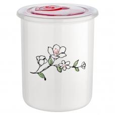 Керамическая банка 0,7 л Flower с крышкой, белого цвета