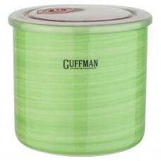 Керамическая банка 1 л с крышкой, зеленого цвета