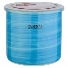 Керамическая банка 1 л с крышкой, голубого цвета