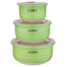 Набор контейнеров с вакуумной крышкой, зеленого цвета, 0,85 л, 0,6 л, 0,25 л