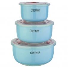 Набор контейнеров с вакуумной крышкой, голубого цвета, 0,85 л, 0,6 л, 0,25 л