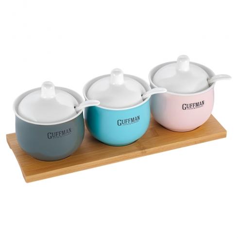 Набор керамической посуды 0,15 л, серого, голубого и розового цвета