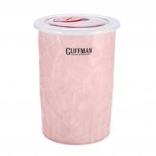 Керамический контейнер 0,6 л с вакуумной крышкой, розового цвета