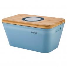 Хлебница с разделочной доской-крышкой из бамбука, голубого цвета