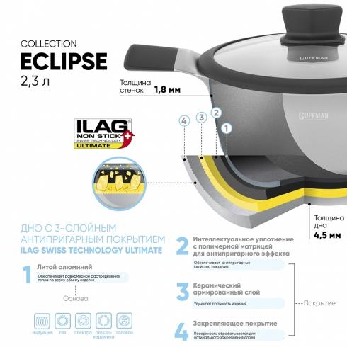 Кастрюля 2,3 л из алюминия Eclipse со стеклянной крышкой, индукция