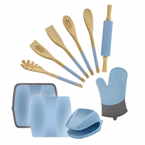 Лопатка из бамбука, голубого цвета