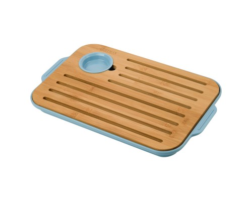 Доска разделочная из бамбука для хлеба и сыра, голубого цвета