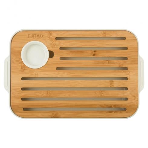 Доска разделочная из высококачественного бамбука для хлеба и сыра, белого цвета
