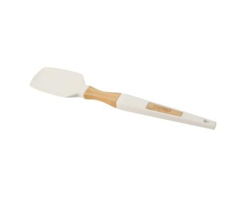 Лопатка силиконовая c ручкой из высококачественного бамбука с нанесением лазерной гравировки, белого цвета