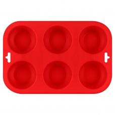 Форма для выпечки кексов силиконовая, красного цвета