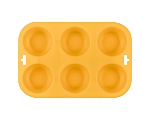 Форма для выпечки кексов силиконовая, желтого цвета