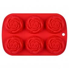 Форма для выпечки Rose силиконовая, красного цвета