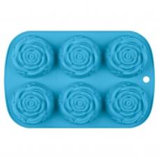 Форма для выпечки Rose силиконовая, голубого цвета