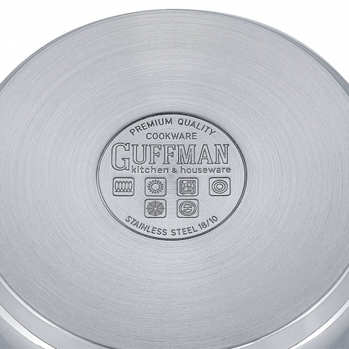 Ковш 16 см, 1,4 л Magnifique со стеклянной крышкой и заклепочными ручками из нержавеющей стали, индукция